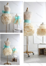 Top Selling Rolling Flowers Sexy Prom Dress with Sashes and Discount Scoop Little Girl Dress with Rolling Flowers