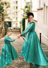 Elegant Long Sleeves Sexy Prom Dress with Lace and Modest High Low Little Girl Dress with Half Sleeves
