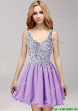 Beautiful Straps Beaded and Ruffled Short Prom Dress in Lilac