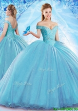 Beautiful Beaded Bodice Organza Quinceanera Dress with Brush Train