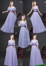 2017 Lovely Empire Chiffon Lavender Long Prom Dress with Purple Belt