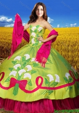 Western Style Puffy Skirt Quinceanera Dress in Olive Green and Hot Pink
