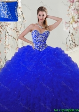 Best Selling Beaded and Ruffled Royal Blue Quinceanera Dress in Tulle