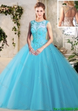 Hot Sale See Through Scoop Beaded Tulle Quinceanera Dress in Baby Blue