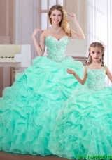 Wonderful Ruffled and Bubble Organza Princesita Quinceanera Dresses in Apple Green