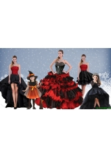 Halloween Luxurious Red and Black Quinceanera Dresses with Ruffled Layers and Beading