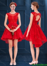 Elegant Laced See Through Scoop Red Bridesmaid Dress in High Low