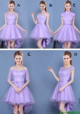 Cheap Laced and Bowknot High Low Lavender Bridesmaid Dress in Tulle and Taffeta