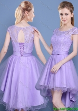 Luxurious See Through Short Sleeves Laced Bodice Bridesmaid Dress in High Low