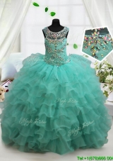 See Through Scoop Turquoise Little Girl Pageant Dress with Beading and Ruffled Layers