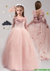 Classical Scoop Long Sleeves Mini Quinceanera Dress with Appliques and Ruffles