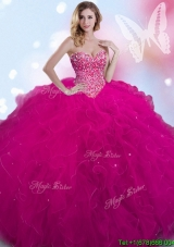Popular Fuchsia Tulle Quinceanera Dress with Ruffles and Beading