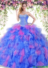 Best Selling Ruffled and Beaded Quinceanera Dress in Organza