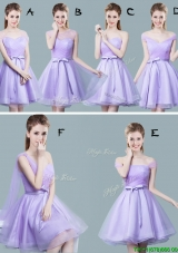 Cheap Tulle Bowknot and Ruched Prom Dress in Lavender