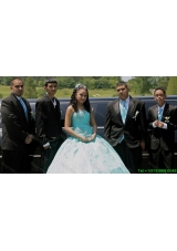 Best Selling Strapless Beaded Tulle Quinceanera Package in Aqua Blue