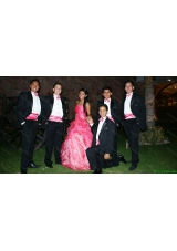 Discount Applique Ruffled Sweetheart Hot Pink Quinceanera Package in Organza