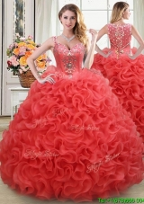2017 See Through Straps Beaded and Ruffled Rolling Flowers Back Sweet 15 Dress in Coral Red