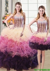 Two for One Puffy Sweetheart Detachable Quinceanera Dress with Beading and Ruffles