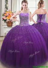 Beautiful Puffy Beaded Bodice Tulle Quinceanera Dress in Purple