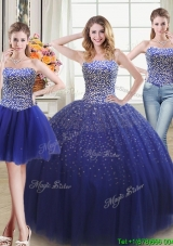 Discount Puffy Beaded Bodice Royal Blue Detachable Quinceanera Dress in Tulle