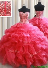 Pretty Visible Boning Beaded Bodice and Ruffled Quinceanera Dress in Coral Red