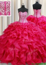 Visible Boning Beaded Bodice Brush Train Coral Red Quinceanera Dress with Ruffles