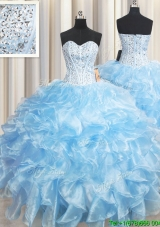 Unique Visible Boning Organza Beaded Bodice and Ruffled Light Blue Quinceanera Dress