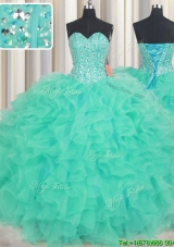 New Style Visible Boning Ruffled and Beaded Bodice Quinceanera Dress in Turquoise