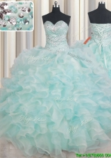Beautiful Puffy Skirt Beaded and Ruffled Quinceanera Dress in Light Blue