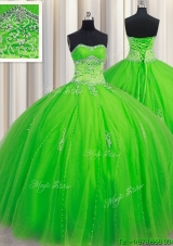 Fashionable Puffy Skirt Beaded Sweetheart Spring Green Quinceanera Dress in Tulle