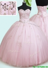 Perfect Really Puffy Tulle Beaded Quinceanera Dress in Baby Pink