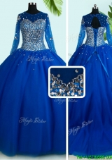 Simple See Through Scoop Brush Train Royal Blue Quinceanera Dress with Long Sleeves