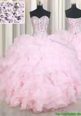 Modest Visible Boning Beaded Bodice Baby Pink Quinceanera Dress in Organza
