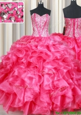Lovely Visible Boning Beaded Bodice and Ruffled Organza Hot Pink Quinceanera Dress