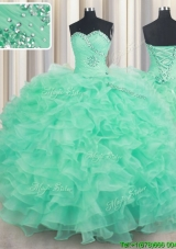 Lovely Puffy Skirt Sweetheart Organza Quinceanera Dress with Ruffles and Beading