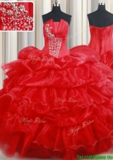 Classical Strapless Organza Red Quinceanera Dress with Beading and Pick Ups