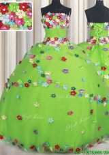 Wonderful Strapless Spring Green Quinceanera Dress with Appliques and Beading