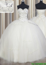 Top Seller Really Puffy White Tulle Quinceanera Dress with Beading