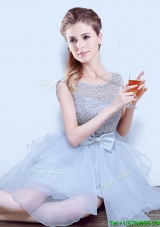 Latest See Through Scoop Bridesmaid Dress with Ruffles and Bowknot