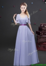 Exquisite Empire Square Belted Long Bridesmaid Dress with Short Sleeves