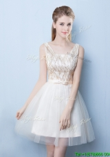 Popular Champagne Square Short Prom Dress with Sequins and Bowknot