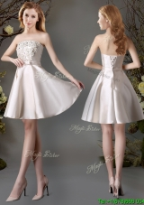 Perfect Applique and Bowknot Champagne Short Prom Dress for Summer