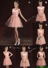 Wonderful A Line Pink Short Prom Dress in Lace and Tulle