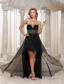 Black High-low Sweethart Beaded Decorate Bust Custom Made Prom Dress With Organza