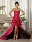 Custom Made Perfect Taffeat Prom Dress Ruched and Beading Bodice High-low