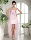 Baby Pink Beaded Over Bodice High-low Prom Dress For Custom Made In Jackson