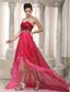 Pink and Wine Red A-line Sweetheart High-low Organza Beading Prom Dress