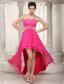 Hot Pink Empire Sweetheart High-low Chiffon and Lace Beading Prom / Evening Dress