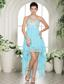 Aqua Blue Appliques Sweetheart High-low Prom Dress For Custom Made In Choteau