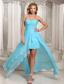 Wholesale Aque Blue High-low Sweetheart Prom Dress For Evening Beading and Ruch